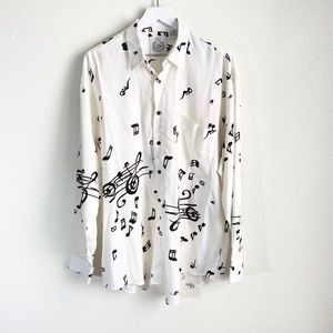 Vintage Cosi Musical Note Button Down